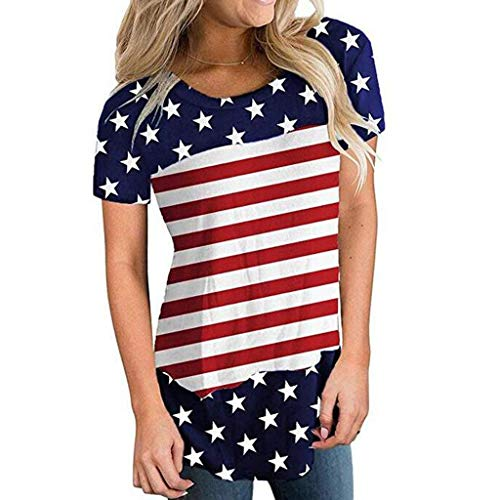 YOcheerful Women Tops American Printed O-Neck Short Sleeve Tops July 4th Blouse Loose Tunic T-Shirt(Red, S)]()
