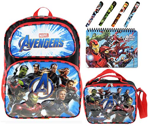 Marvel Avengers School Set | Avengers Backpack 16 inch with Lunch Box Bag, Spiral Notebook Hard Cover and 4 Superhero Pens | Feature Iron Man, Captain America, Hulk, Captain Marvel, Thor and More