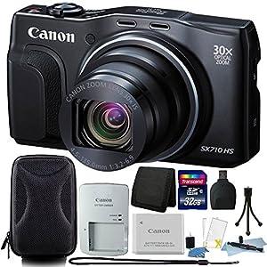 Canon PowerShot SX710 HS 20.3 MP 30X Zoom Digital Camera Black + All You Need Accessory Bundles