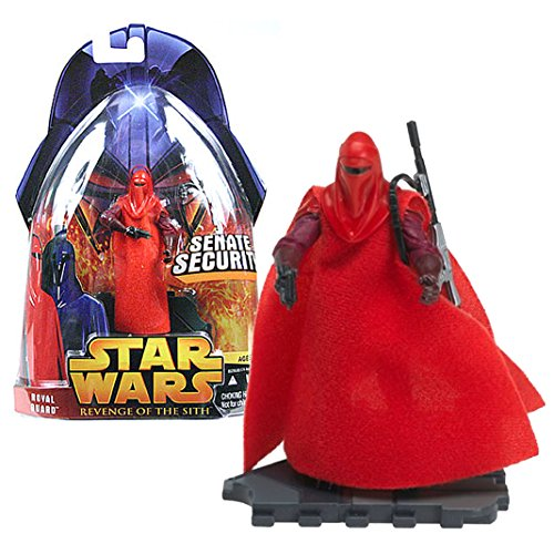 "Hasbro Year 2005 Star Wars ""Revenge of the Sith"" Series Series 4 Inch Tall Action Figure - Crimson Red Senate Security ROYAL GUARD with Blaster Gun, Blaster Rifle and Display Base"