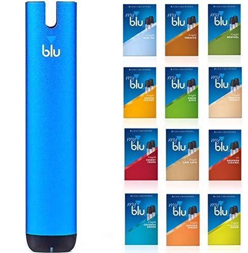 "Starter Set mit E-Zigarette Vape Device myblu Blau + 2 Doppelsets Liquids""Dein Wunscharoma"" – Ohne Nikotin"