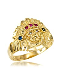 Polished 10k Yellow Gold Indian Chief CZ Head Ring