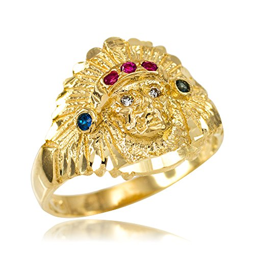 (Polished 14k Yellow Gold Indian Chief CZ Head Ring (Size 12.75))