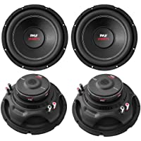 4) PYLE PLPW12D 12 6400W 4 Ohm Black DVC Car Stereo Power Audio Subwoofers