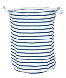 GreenForest Fabric Laundry Bucket Large Collapsible Eco-friendly Storage Bucket With Totes ,Blue Strips(14Dx18H inches)