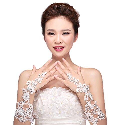 Vivivalue Women Flowers Bride Bridal Long Lace Gloves Elbow Rhinestone Fingerless Wedding Party Prom White