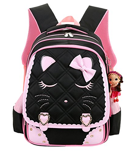Cat Face Waterproof Girls Backpack Kids School Bookbag for Primary Students Black