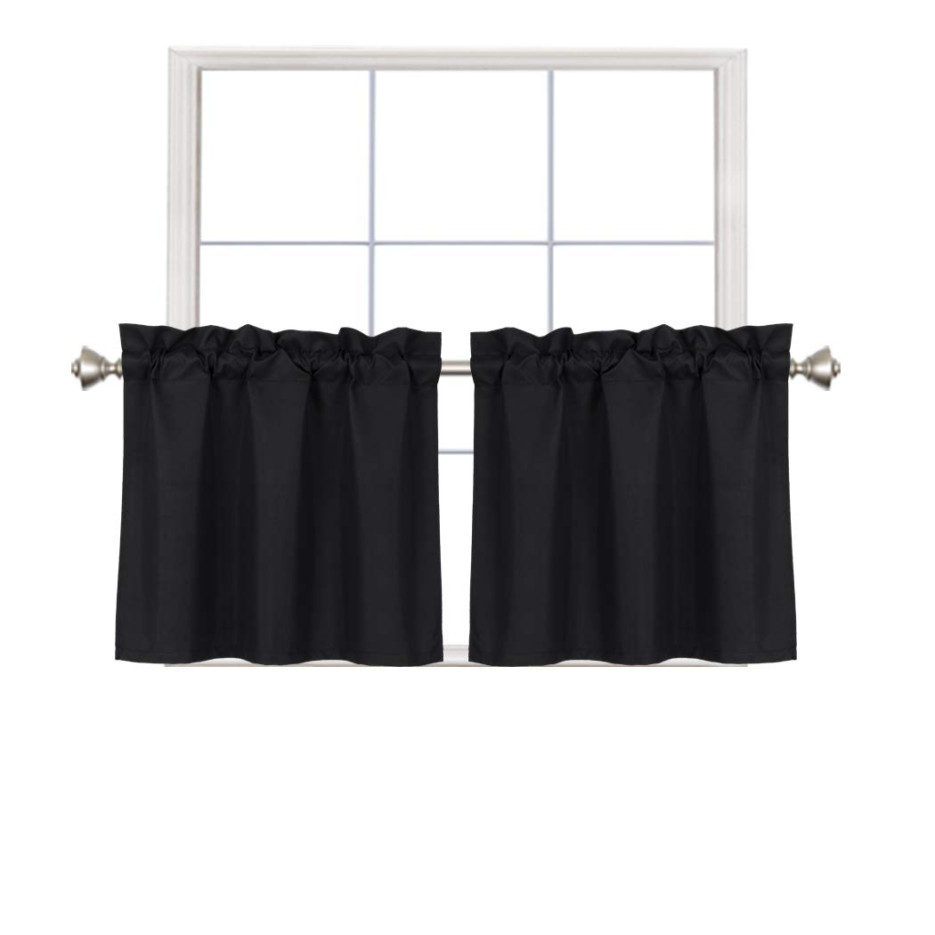 Home Queen Blackout Rod Pocket Tier Curtains for Small Window, Short Room Darkening Kitchen Curtains, Café Drapes, 2 Panels, 30 W X 24 L Inch Each, Black