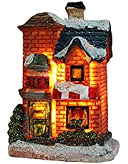 Deosdum Resin Christmas Houses,Christmas Village House Snow Village Tiny Scene Collections Houses Sets, LED Light Up Building Luminous Figurines Tabletop Ornaments Accessories