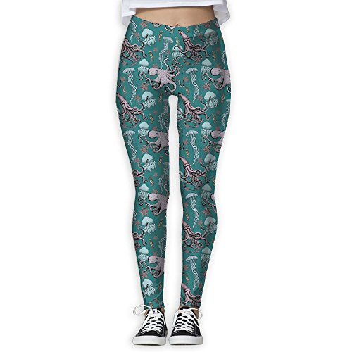 ZGZGZ Women's Octopus Jellyfish Green Pattern Printed Yoga Pants Workout Capris Lightweight Yoga Leggings -