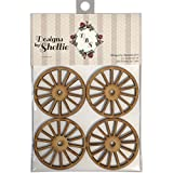 Designs By Shellie Wood Embellishments 4/Pkg-Wagon Wheels, 2.5