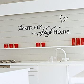 English Letters Kitchen Heart Shape Wall Decal Home Sticker PVC Murals  Vinyl Paper House Decoration Wallpaper
