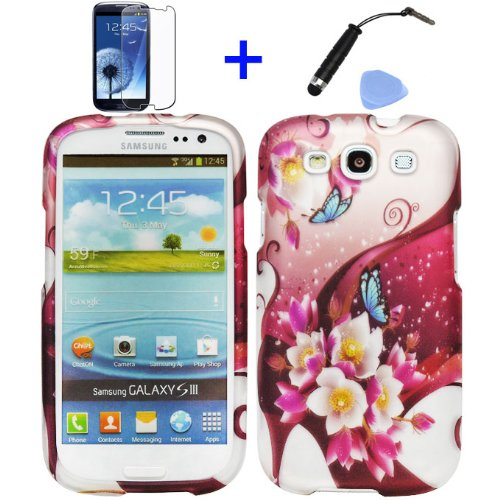 (4 items Combo: Stylus Pen, Screen Protector Film, Case Opener, Graphic Case) Blue Butterfly White Roses Purple Flower Garden Design Rubberized Snap on Hard Shell Cover Faceplate Skin Phone Case for Samsung Galaxy S3 (Purple Rubberized Hard Faceplate)