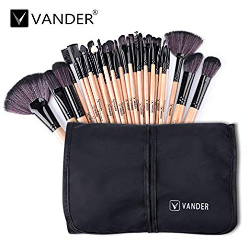 Vander 32 Pieces Makeup Brushes Handle Premium Cosmetics Brush Set Professional Wood Synthetic Kabuki Foundation Blending Blush Concealer Eyeliner Face Liquid Powder Cream Brushes Kit With Pouch Bag. (Makeup 32 Beauty Piece Set)