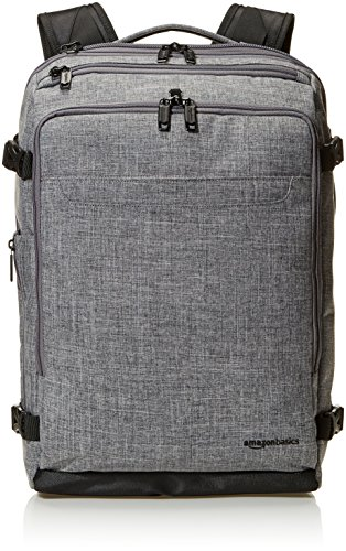(AmazonBasics Slim Carry On Travel Backpack, Grey - Weekender)