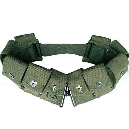 ANQIAO WW2 US Rifle Magazine Garand Ammo Belt 10 Cells Pouch Ammunition Canvas M1923 Cartridge Belt Field Green Caliber Pouch Heavy Duty Material