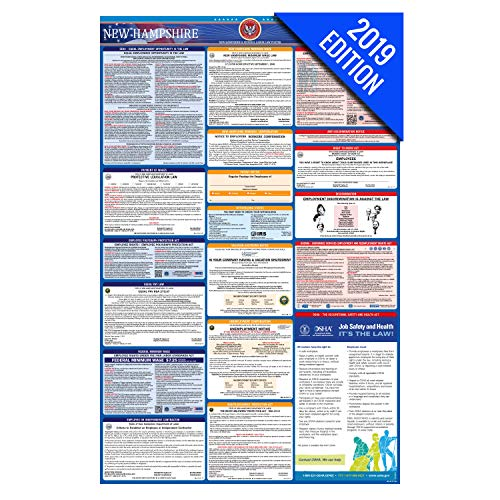 - 2019 New Hampshire Labor Law Poster - State, Federal, OSHA Compliant - Single Laminated Poster