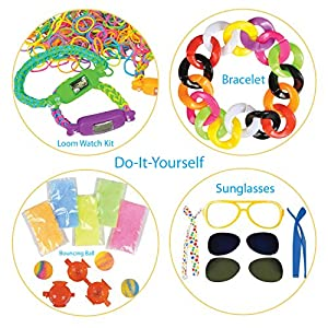 DIY Creativity Set by ArtCreativityTM - 4 Fun Creative Do-It-Yourself Craft Projects - Includes 9pc Sunglasses Kit, 300pc Loom Watch Kit, 28pc Bracelet Kit & Bouncy Ball Kit - Unique Gift for Kids
