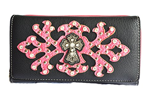 (Women Black hot Pink Rhinestone Cross Studs Clutch Wallet)