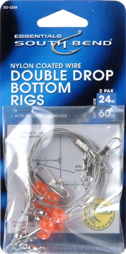 Double Rig - Hurricane 24-Inch Double Drop Bottom Nylon Coated Wire Rig (2-Pack), 60-Pound