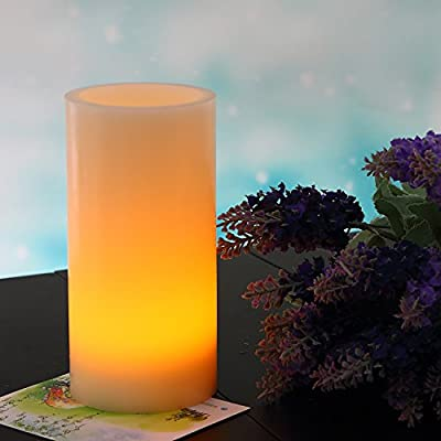 """Thickened LED Flameless Candle Light 8""""x4"""" Ivory - Unscented Real Wax, Battery Operated Candle with On-Chip Timer, Flickering Amber Yellow Flame Pillar Electric Candle for Lanterns By JIAJIA Spring"""