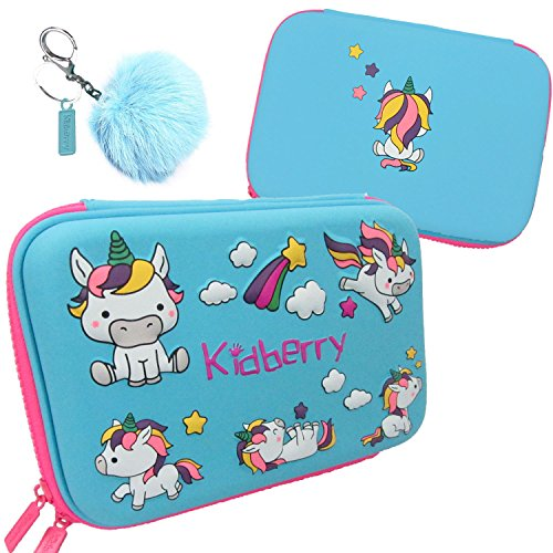 Pencil case for kids, The original brand Kidberry pen case for kids,pencil pouch, girls pencil case, Cute Unicorn 3D Unique design pencil box, comes with a matching Pom Pom key chain in a gift box Photo #10