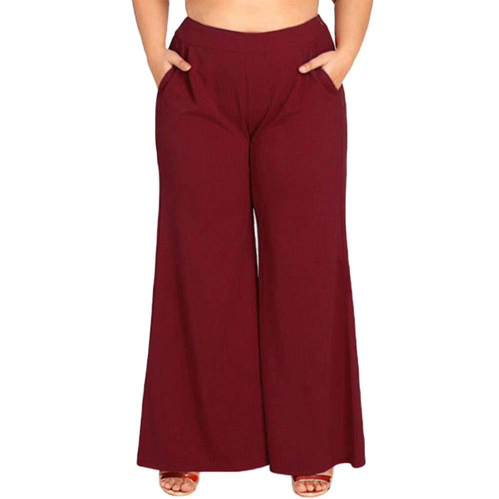 GoodLock Clearance!! Women Wide Leg Loose Pants Casual High Waist Palazzo Zipper Flare Pants Trousers Oversize Plus (Red, XXXX-Large)