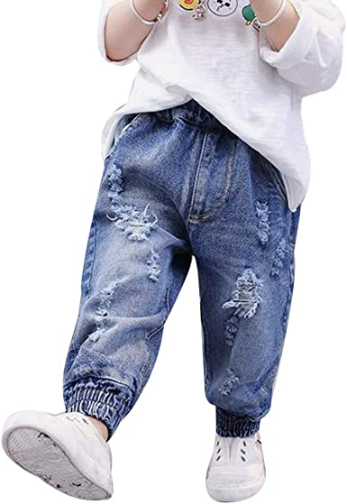 Baby Boy Girl Elastic Waist Ripped Denim Jeans Trousers Harem Pants