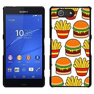 EJOY---Cubierta de la caja de protección para la piel dura ** Sony Xperia Z3 Compact ** --papas fritas hamburguesa francés basura comida rápida