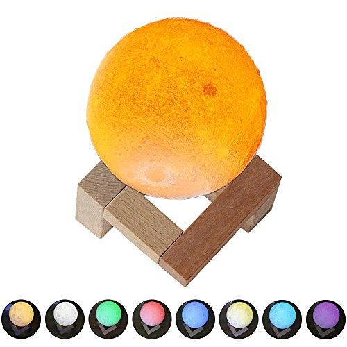 3D Moon Lamp, niceEshop(TM) 7 Colors LED Printing Lighting Night Light Warm Lunar Lamp with Dimmable Touch Control, USB Charging, Wood Holder for Home Decoration & Christmas, Birthday Gifts, 3.14in by niceeshop (Image #7)