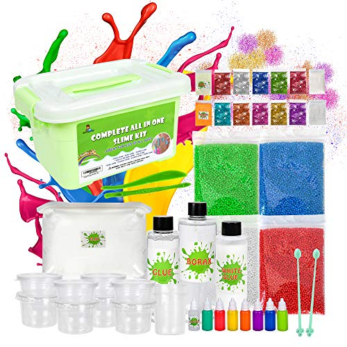 (Gadgetsology Ultimate Unicorn Slime Making Kit For Girls Boys - Glow in the dark & Snow Powders - Kids Can Make Fluffy Cloud fishbowl Glitter Foam Balls Slime w/ Color clay & Glues + Clear Containers)