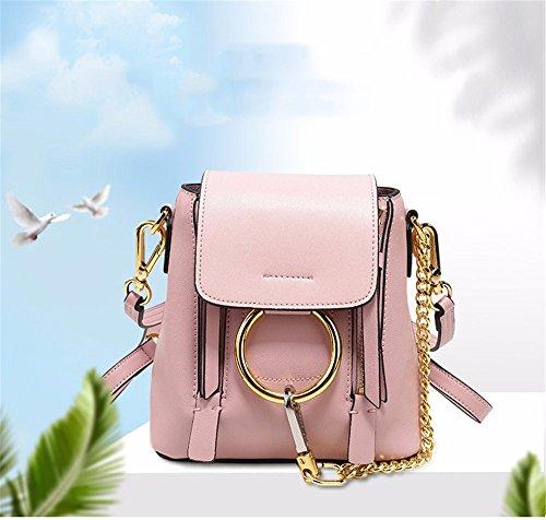 Lady Tasche chain Dekoration Leder Rucksack multi-Schultertasche multifunktionale single Schultertasche schrägen Kreuz Dame Beutel, 17 * 10 * 18 cm Rosa