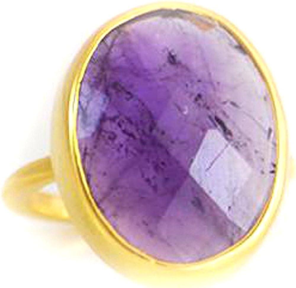 DV Jewels Large Purple Amethyst Oval Bezel Ring