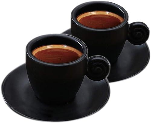Espresso-Kaffeetassen schwarz und Untertasse, Keramik, 90 ml
