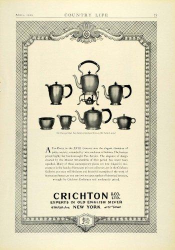 1929 Ad Crichton Old English Antique Scottish Murray Silver Tea Set Home Decor - Original Print Ad