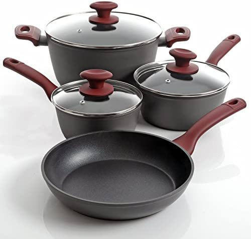 Gibson Home 112016.07 Marengo Cookware Set, 7 Piece, Red