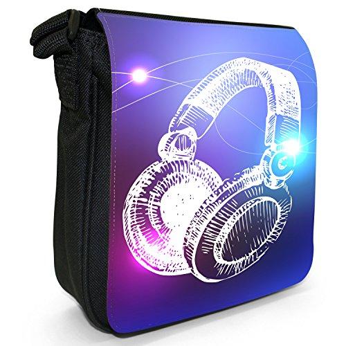 Music Funky Headphones Elements Hand Bag Small Shoulder Line Size Black Drawn Art Canvas Small Music SwqEw1Ua