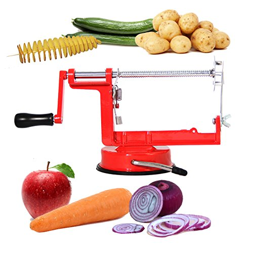 PENSON & CO. Manual Red Stainless Steel Twisted Potato Apple Slicer Spiral French Fry Vegetable ()