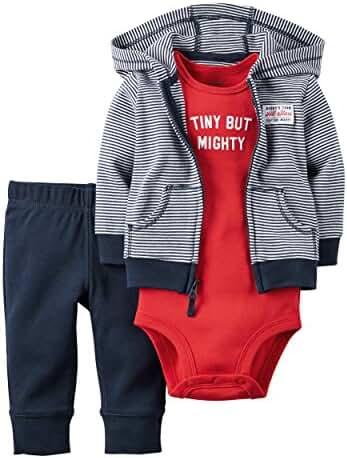 Carter's Baby Boys 3-Piece Short-Sleeve Safari Bodysuit, Tiny But Mighty, 9 Months