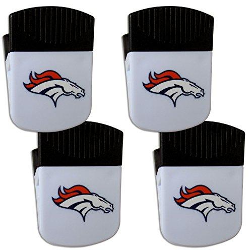 Denver Broncos Nfl Clip - Siskiyou NFL Denver Broncos Chip Clip Magnet with Bottle Opener, 4 Pack