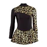Starlite Foil Print Ice Skating Dress - Gold 10-11 years