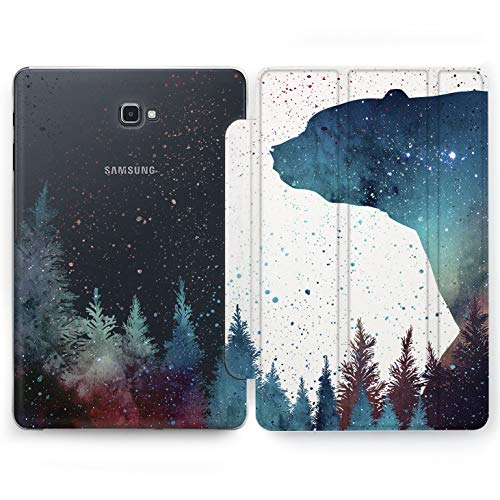 Wonder Wild Forest Bear Samsung Galaxy Tab S4 S2 S3 A E Smart Stand Case 2015 2016 2017 2018 Tablet Cover 8 9.6 9.7 10 10.1 10.5 Inch Clear Design Trees Plants Space Wood Forest Green Nature Beauty -