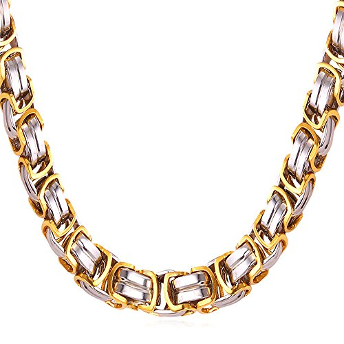 Men Chunky Necklace Byzantine Chain