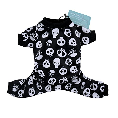 CuteBone Dog Pajamas Skeleton Dog Apparel Dog Jumpsuit Pet Clothes Pajamas P11L by CuteBone
