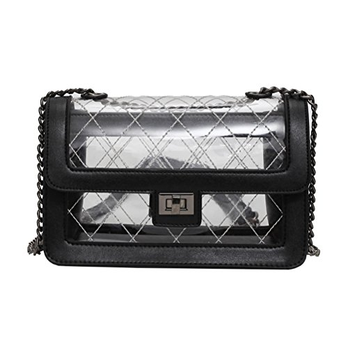 Bag Transparent Bag OULII for Black Chain Square Messenger Lady Jelly Chain Stylish Bag Small Women Shoulder XqUSwpT