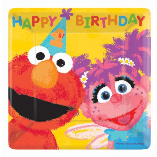 Sesame Street 1st - Square Dessert Plates Party Accessory (Sesame Street Abby Cadabby Halloween Costume)