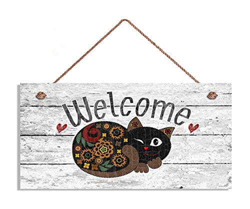 TOPFINES Welcome Sign, Whimsical Cat 5