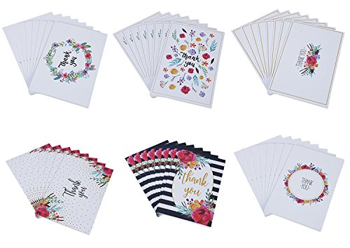 48 Thank You Cards Bulk Assortment - 6 Unique Watercolor Floral Designs 4 x 6 Inches Includes 48 Envelopes
