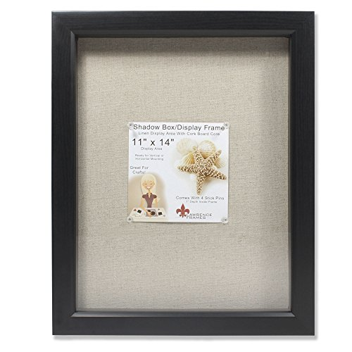 amazoncom lawrence frames 11 by 14 inch black shadow box frame linen inner display board