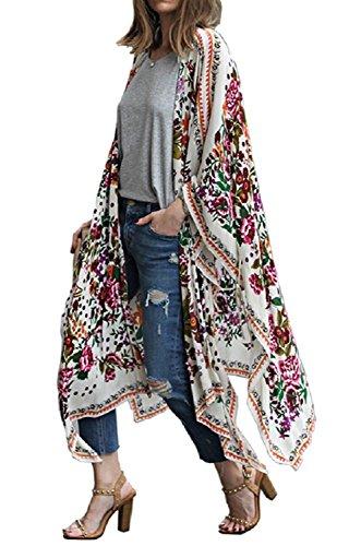 Floral Print Kaftan - Floral Season Women Fashion 2018 Summer Floral Print Kaftan Kimono Cardigan Loose Cover up Flower Medium